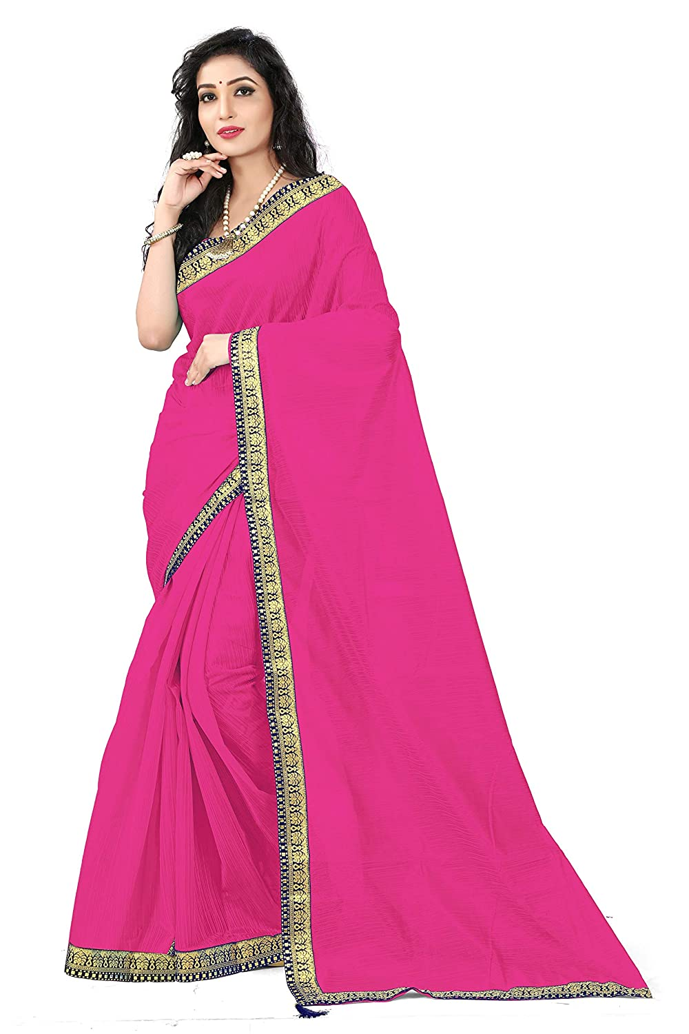 Florence Women's Pink Art Silk Solid Printed Saree With Un-Stitched Blouse(FL-12442_Free Size)