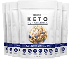 Low Karb - Keto Blueberry Nut Granola Healthy Breakfast Cereal - Low Carb Snacks & Food - 3g Net Carbs - Almonds, Pecans, Coconut and more (11 oz) (6 Count)