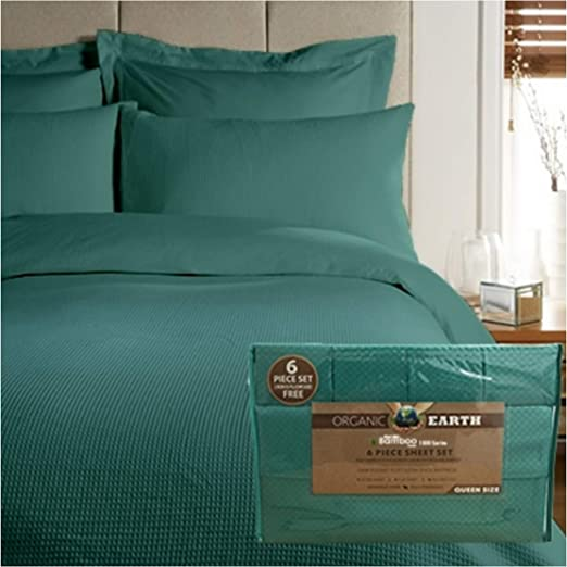 Aloe Vera Bamboo Essence Queen Bed Sheet Sets 4 Piece 1800 Count White Green