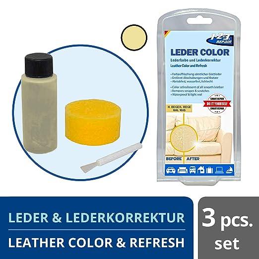 1-2-3 REPAIR Tinte para Cuero y Cuero sintético, Beige Claro