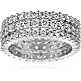 Three Sterling Silver Cubic Zirconia Stacking Eternity Ring Band Set