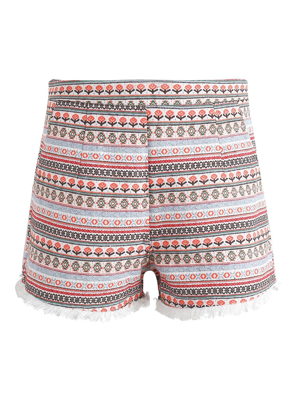 Simplee Women's High Waisted Shorts Ethnic Print Tassles Mini Short Beige US Medium