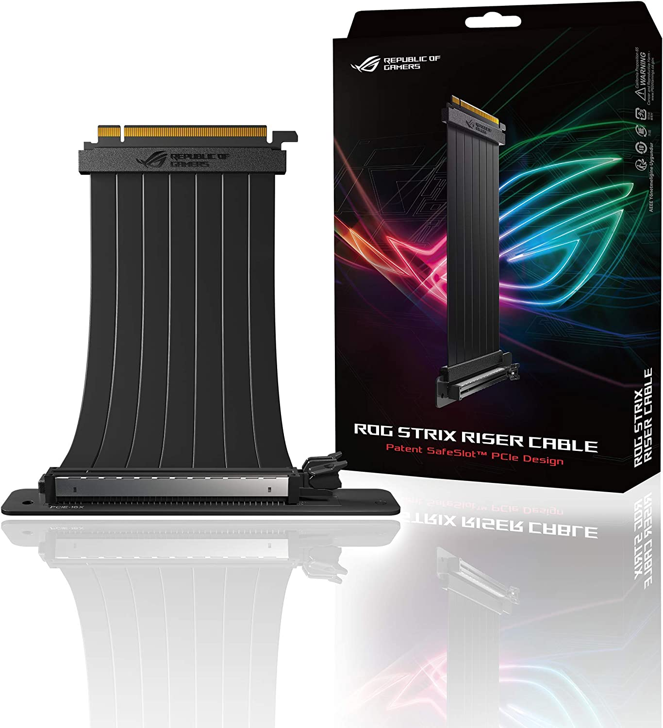 ASUS ROG Strix Riser Cable PCI-E 3.0 x16 High Speed Flexible Extender Card Extension Port, 90 Degree Adapter (240 mm)