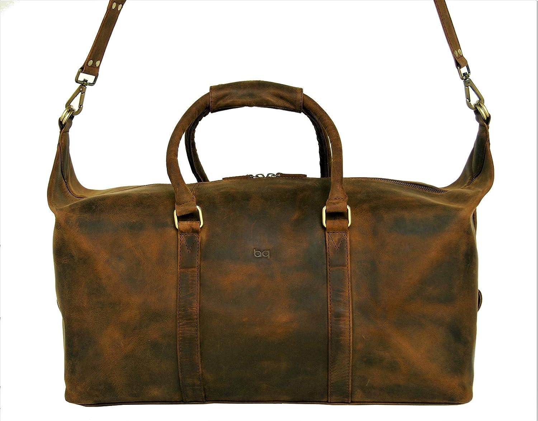 36c8001f8 Amazon.com | Basic Gear Full Grain Leather Duffle Bag, Weekend Travel  Luggage, Carry-on Leather Bag, Gym Duffel | Travel Duffels