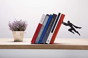 "Artori Design ""Book & Hero"" - Black Metal Superhero Bookend,  Unique Bookends"