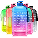 AOMAIS Gallon Water Bottle with Motivational Time Marker, Large 128oz/74oz, Leak-Proof, Wide Mouth, BPA Free Water Bottles fo