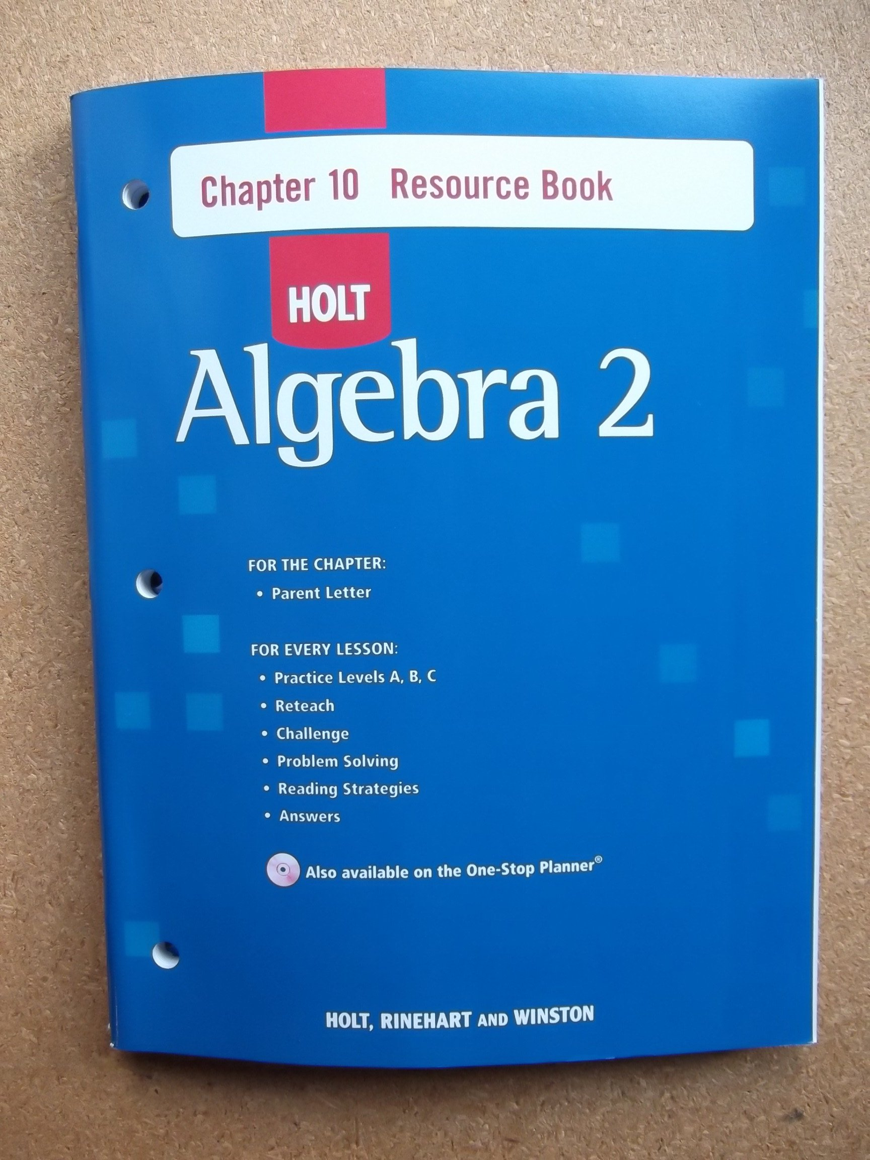 Buy Holt Algebra 2 Resource Book With Answers Chapter 10