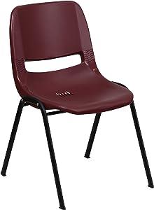 Flash Furniture HERCULES Series 880 lb. Capacity Burgundy Ergonomic Shell Stack Chair with Black Frame