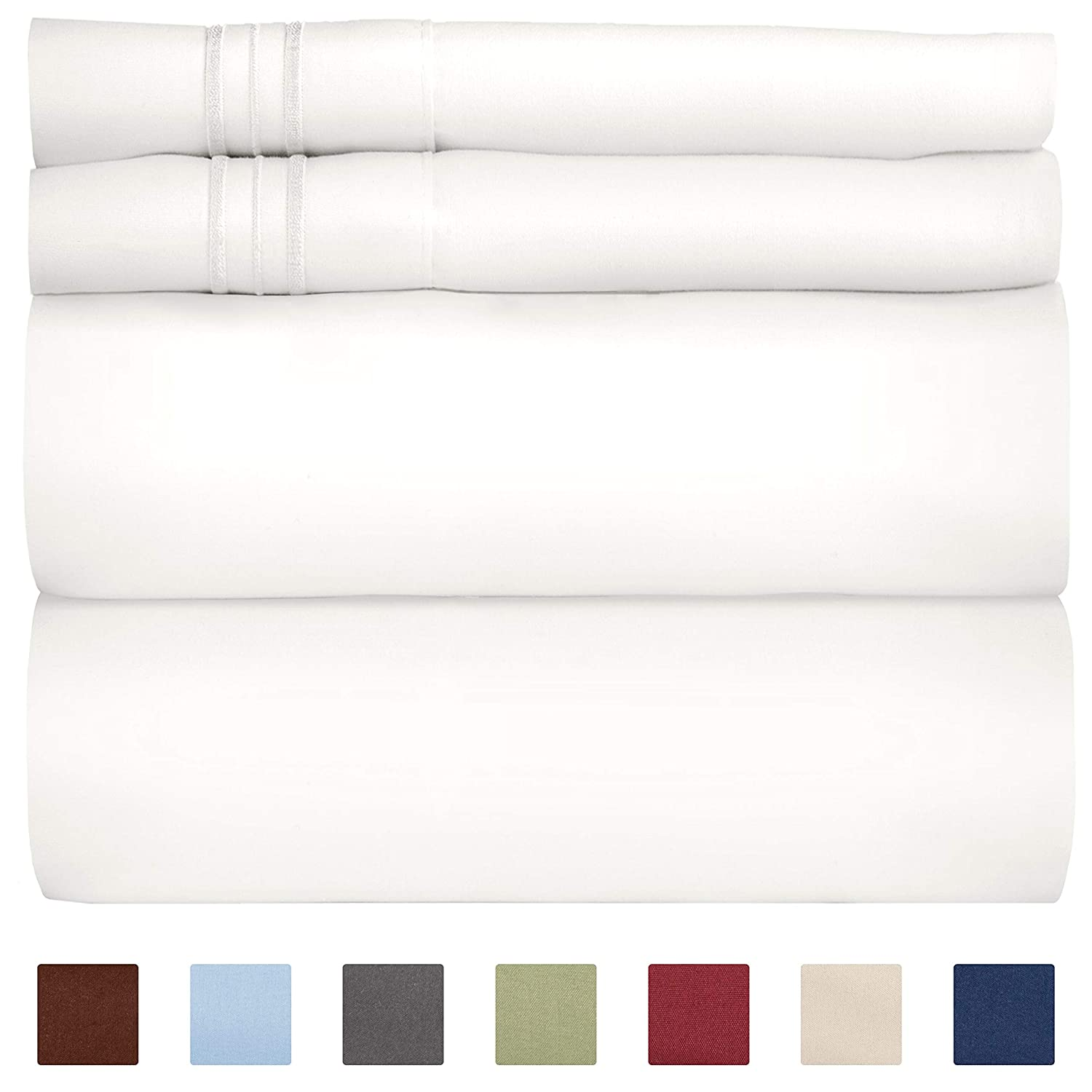 Full Size Sheet Set - 4 Piece Set - Hotel Luxury Bed Sheets - Extra Soft - Deep Pockets - Easy Fit - Breathable & Cooling Sheets - Wrinkle Free - Comfy - White Bed Sheets - Fulls Sheets – 4 PC