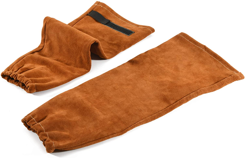 2 Pair Flame Retardant Arm Leather Welding Protection Sleeves Elastic Wrist 40cm