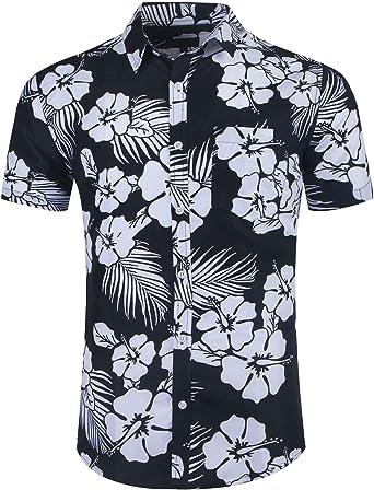 NUTEXROL Camisa Hawaiana para Hombre, Manga Corta, Estampada de Palmas, con 4 Estilos para Verano: Amazon.es: Ropa y accesorios