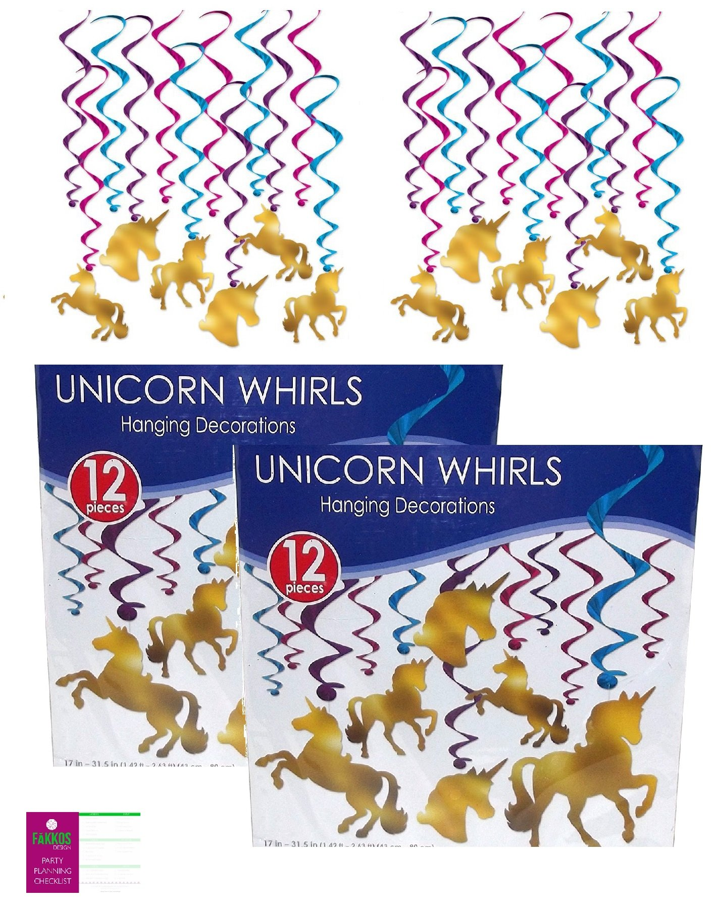 FAKKOS Design Unicorn Party Decorations Birthday Gold Foil Hanging Swirls (2 Pack) 24 Total With Unicorn Cutouts