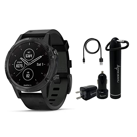Garmin Fenix 5 Plus Premium Multisport GPS Watch with Maps, Music and  Contactless Payments and Wearable4U Ultimate Power Pack Bundle  (Sapphire/Black