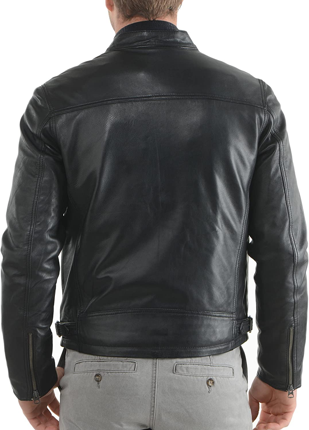 Mens Genuine Cow Leather Jacket Slim Fit Motorcycle Jacket LFC056 XXL