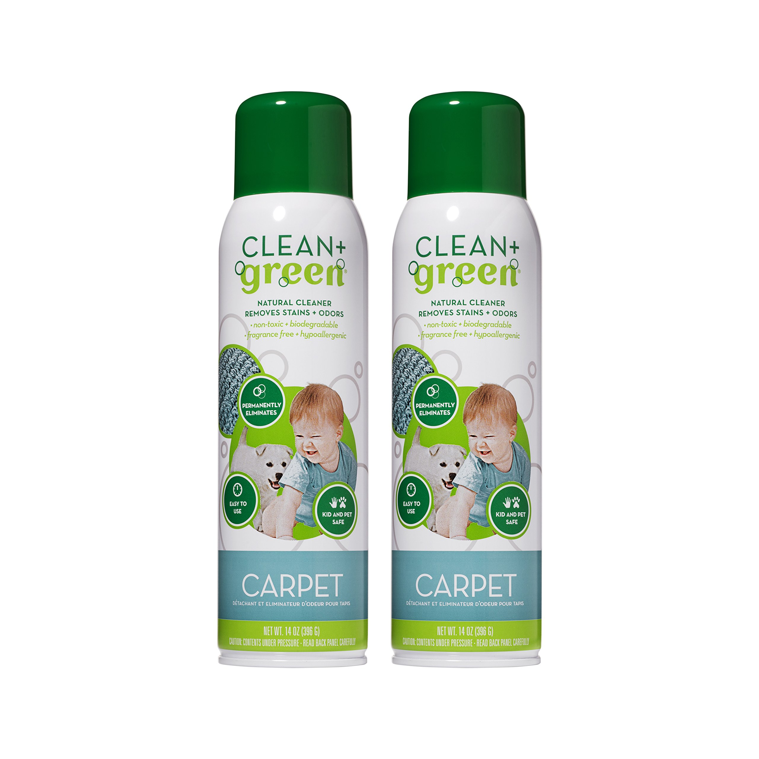 Non-Toxic Natural Carpet Rug Stain Remover, Deodorizer, Odor Eliminator – Multi Purpose Spray- Safe for Children, Pets, People, and Environment (14oz) (2 Pack) by Clean+Green (Image #1)