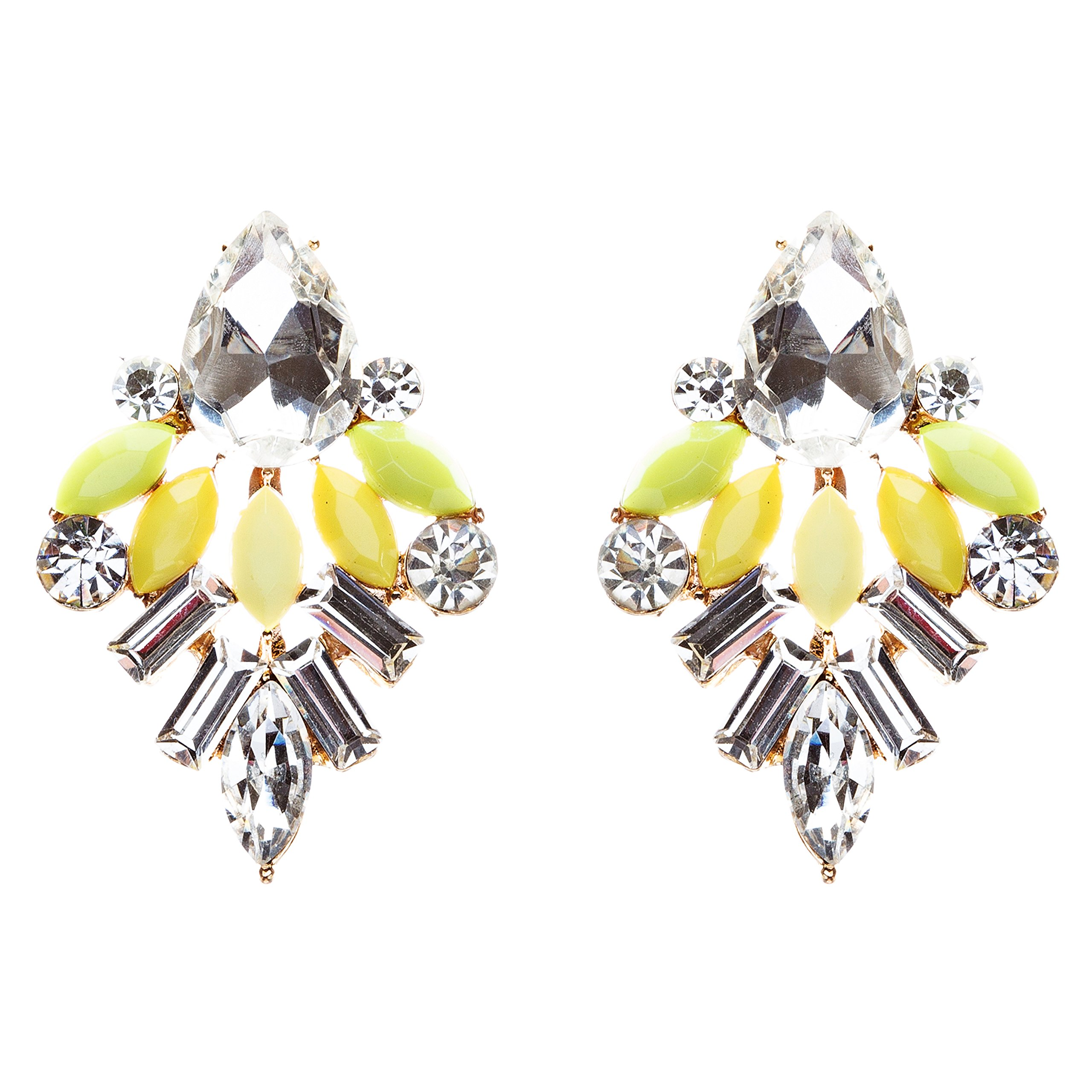 Modern Fashion Crystal Rhinestone Attractive Tear Drop Earrings E807 Yellow