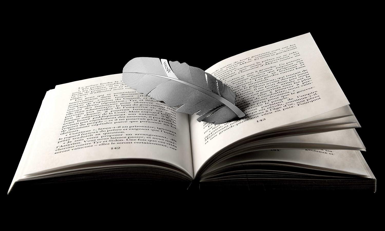 Segnalibro KOSHA a forma di piuma Bianco Perla con giftbox Idea regalo originale. su una base di acciaio inossidabile