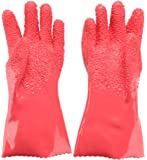 Tater Mitts, LOLLDEAL Potato Peeling Gloves, Waterproof Fish Scale Gloves, Red Vegetable Peeler, Kitchen Assistant Household Cleaning Gloves