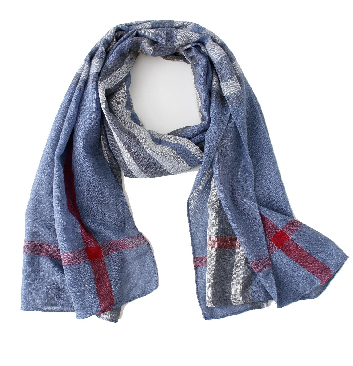 Cotton Scarf Shawl Wrap Soft Lightweight Scarves And Wraps For Men And Women. (Blue plaid)