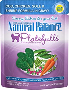 Natural Balance Platefulls Wet Cat Food, Cod, Chicken, Sole & Shrimp Formula in Gravy, 3 Ounce Pouch (Pack of 24), Grain Free