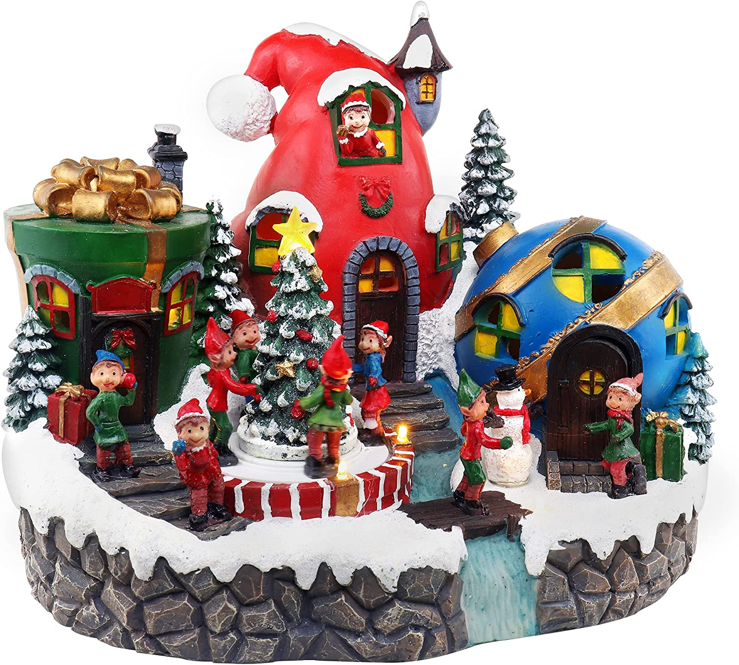 Elves Christmas Village | Animated Pre-lit Musical Santa's Helpers Snow Village | North Pole Gift and Decor Elf Town | Perfect addition to your Christmas Indoor Decorations & Indoor Display