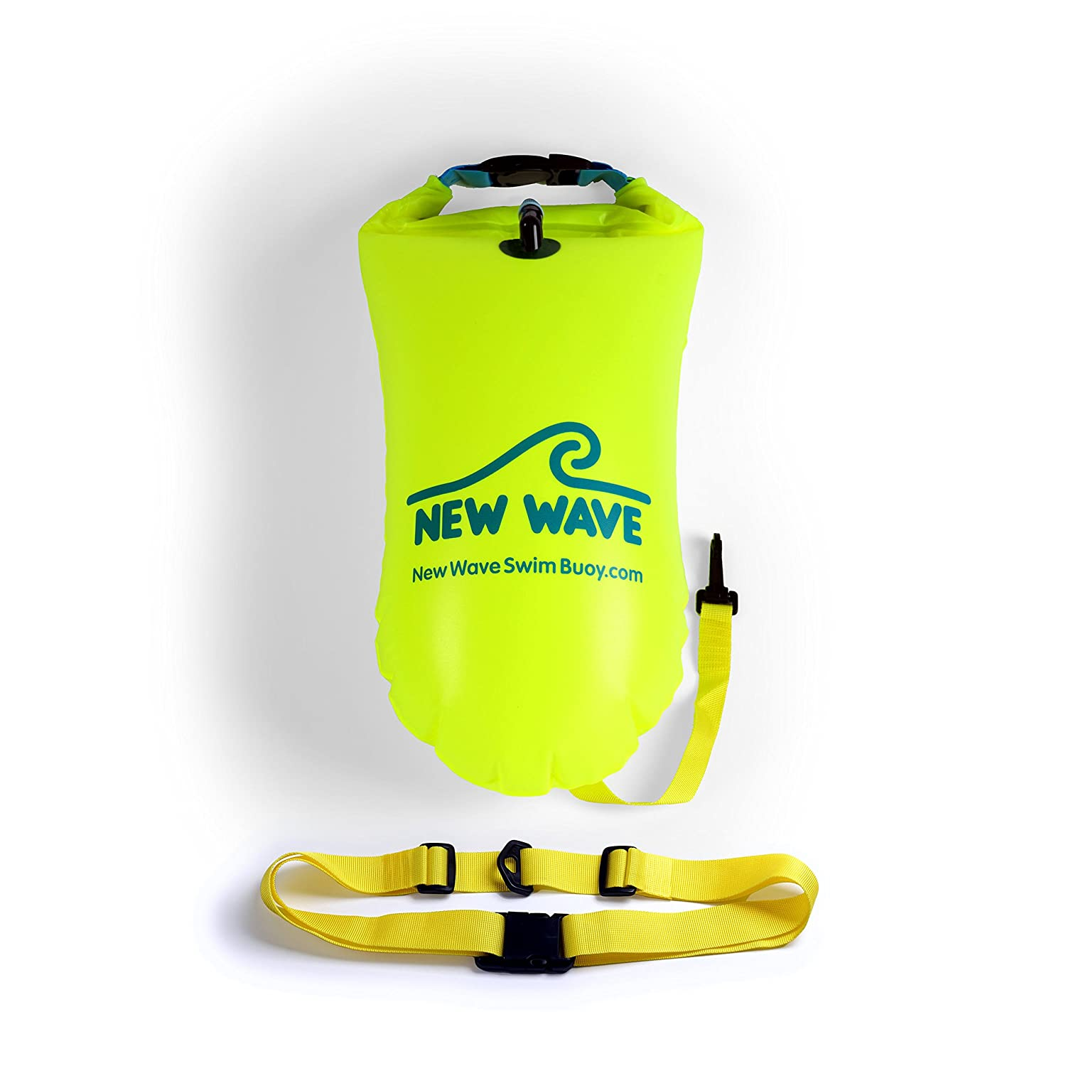 dc0cb418f Amazon.com : New Wave Swim Buoy for Open Water Swimmers and Triathletes -  Light and Visible Float for Safe Training and Racing (Neon Green PVC  Medium-15L) ...