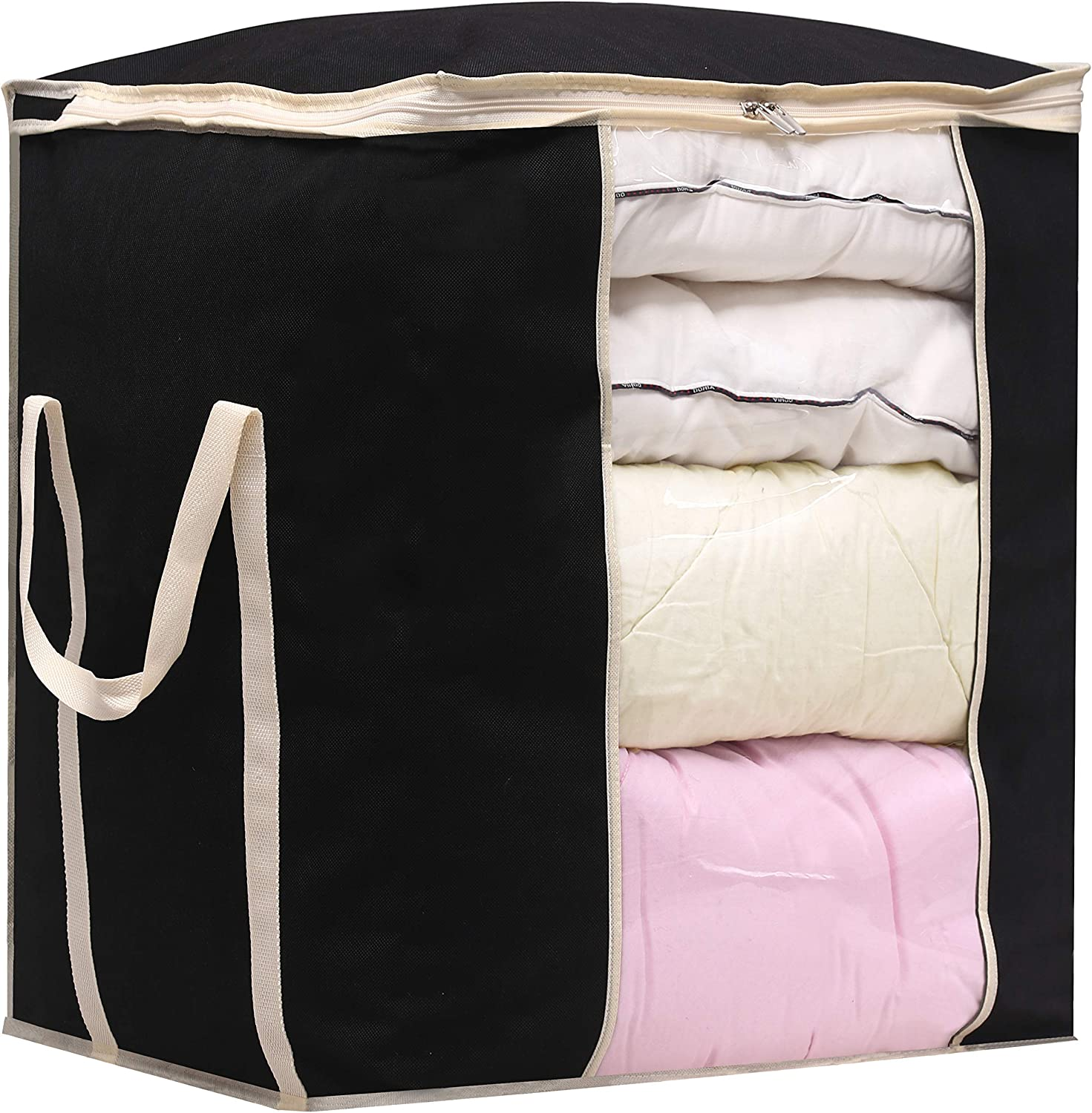MISSLO Jumbo Comforters Storage Bag 120L for Blankets Clothes Sweaters Beddings Organizer with Reinfored Handles, Black