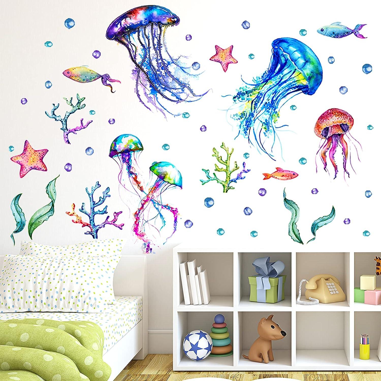 Ocean Jellyfish Wall Decal, Under The Sea Fish Jellyfish Wall Stickers, Vivid Seaweed Starfish Bubble Vinyl Decor, Removable DIY Art Wall Decors Mural for Kids Bedroom, Baby Nursery, Bathroom