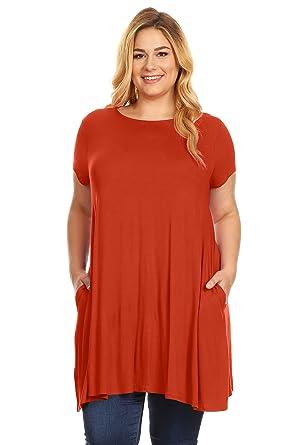 5a269f8aaa3 Womens Plus Size Short Sleeve T Shirt Dress Trapeze Tunic Dress with Pockets  USA Rust Large