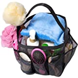 Attmu Mesh Shower Caddy, Quick Dry Tote Bag Oxford Hanging Toiletry and Bath Organizer with 8 Storage Compartments for Shampoo, Conditioner, Soap and Other Bathroom Accessories, Black