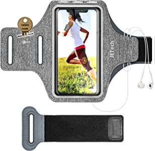 JETech Brazalete Deportivo Compatible iPhone SE(2020)/11/11 Pro/XR/XS/X/8 Plus/7 Plus/8/7/6s/6, Galaxy S10/S9/S9+,Correa Ajustable, Equipado con Soporte para Llave y Tarjeta, para Correr, Senderismo