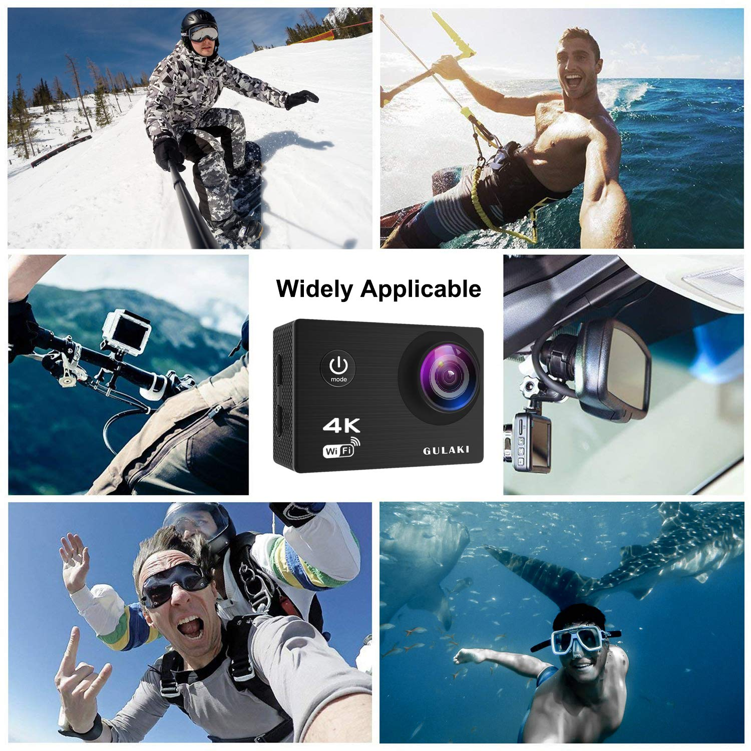 Sports Action Camera, GULAKI 4K 16MP Wi-Fi Action Cam Waterproof 40M 2.0 Inch LCD Screen 170°Wide-Angle with Sony Sensor - 2 PCs 1050mAh Batteries and 2.4GHz Remote Accessories Kits