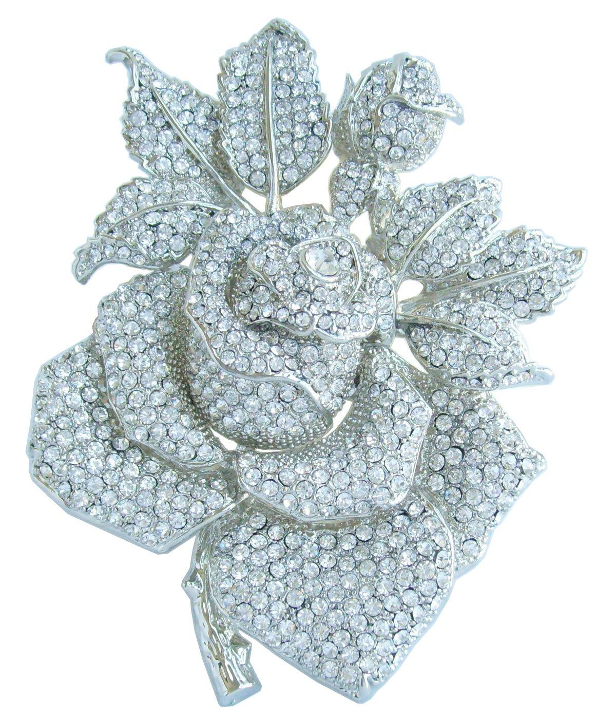 Sindary Gorgeous Wedding 5.32'' Big Rose Flower Brooch Pin Austrian Crystal Pendant BZ2994 (Silver-Tone Clear)
