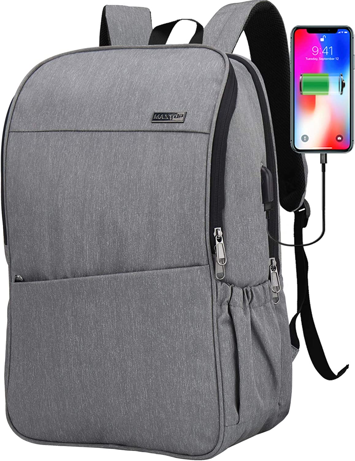 Deep Storage Laptop Backpack with USB Charging Port[Water Resistant] College School Computer Bookbag Fits 16 Inch Laptop