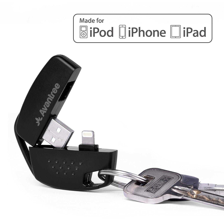 [Certificado MFi Apple] Llavero Cargador y Sincronizador Avantree Lightning a USB cable, compatible con todas las versiones iOS de iPhone 8 / X, 7, ...