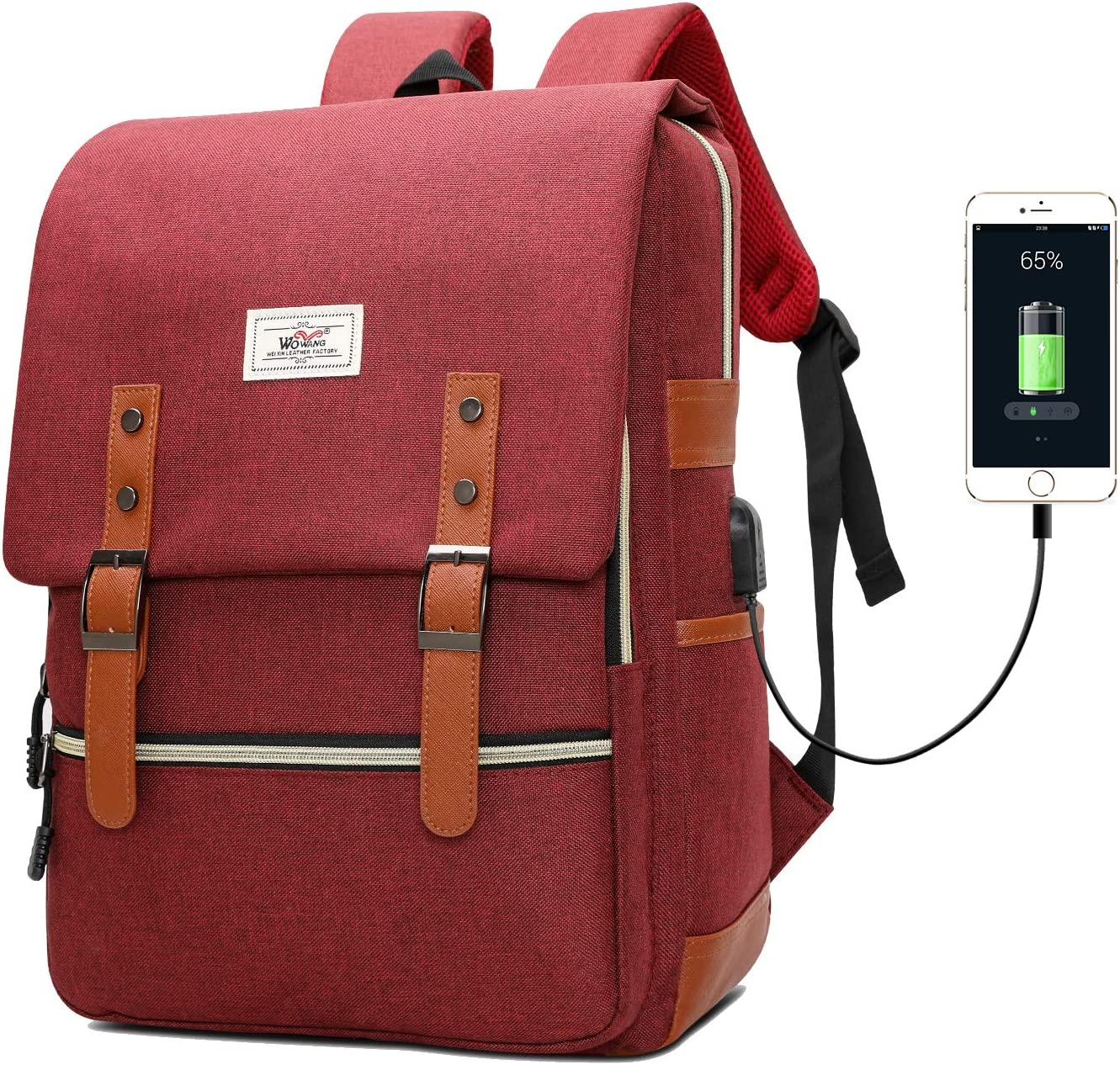 Vintage Laptop Backpack for Women Men Fashion College School Bag, Fits 15.6 Inch Notebook with USB Charging Port Daypack