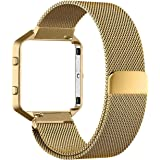 For Fitbit Blaze Accessory Band,Small (5.5-6.7 in),Oitom Frame+ Milanese Magnet Loop Stainless Steel Metal (Gold)