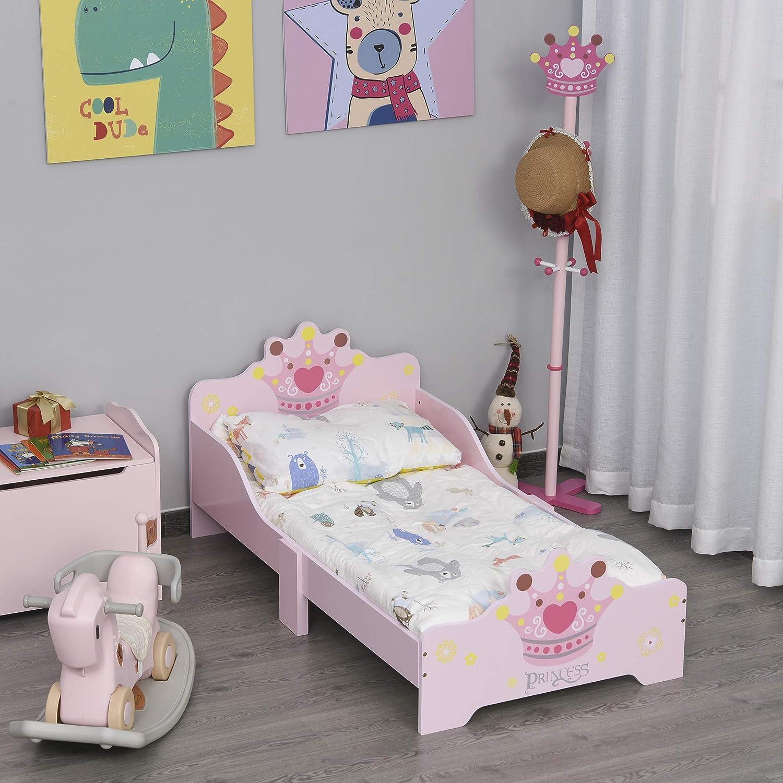 6 Jahre HOMCOM Kinderbett mit Prinzessinnen-Motiv mit Rausfallschutz f/ür 3 Pappelholz 143 x 73 x 60 cm M/ädchenbett Holzbett f/ür Kinderzimmer