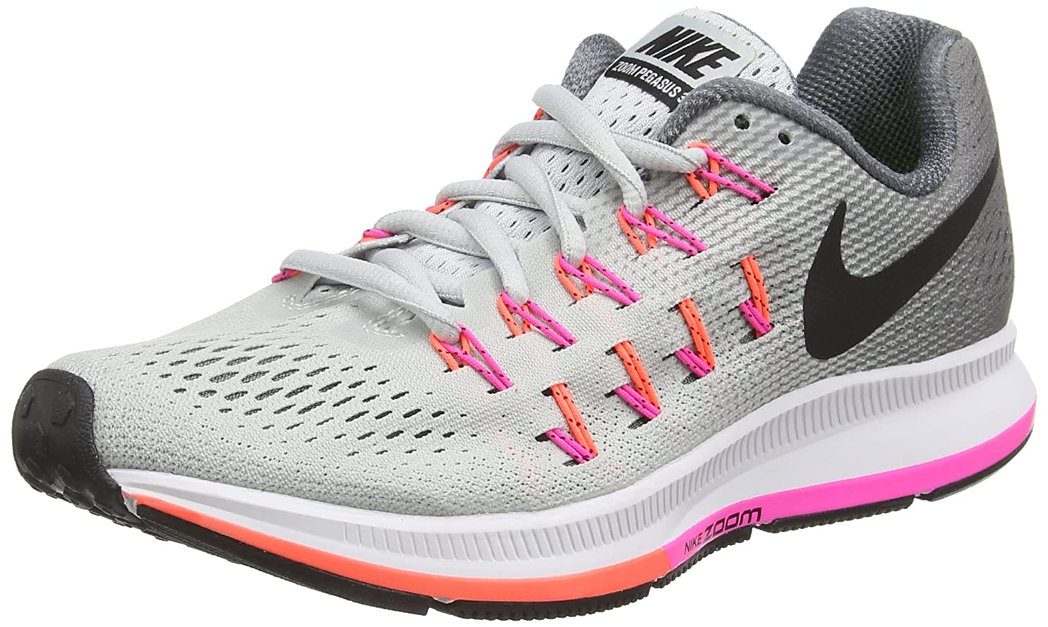 NIKE Women's Air Zoom Pegasus 33 B015NTCNU2 6 B(M) US|Platinum/Black/Grey/Pink Blast