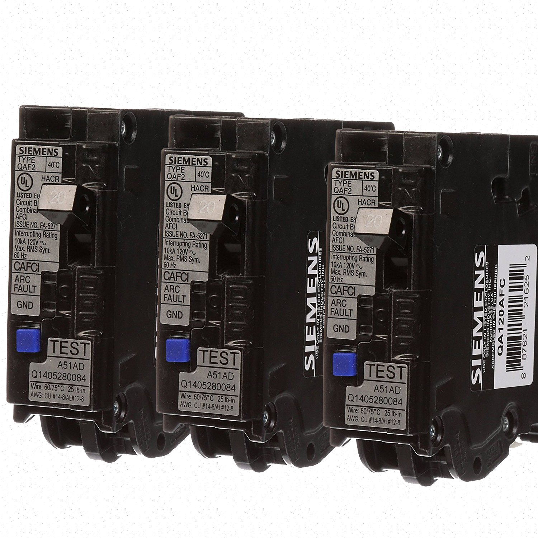 Siemens QA120AFC_3PK 3 Pack Circuit Breaker, 20 Amp, Black, 3 Each Set