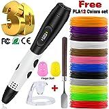 3D Pen + PLA Fliament Set, Lovebay 3D Stift mit LCD-Bildschirm + 12 Farben je 3,1M, Φ1,75 mm 3d Filament - insgesamt 120 Feet, DIY Geschenk für Kinder Anfänger Erwachsene Zeichnung, kompatibel mit 1,75 mm ABS/PLA 3D Printing Material