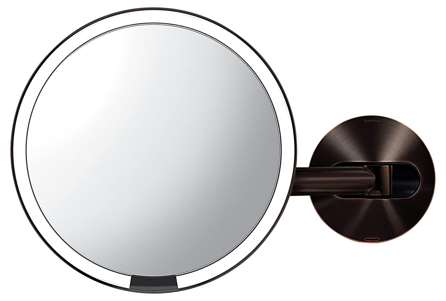 simplehuman Wall Mount Sensor Makeup Mirror, Dark Bronze Steel
