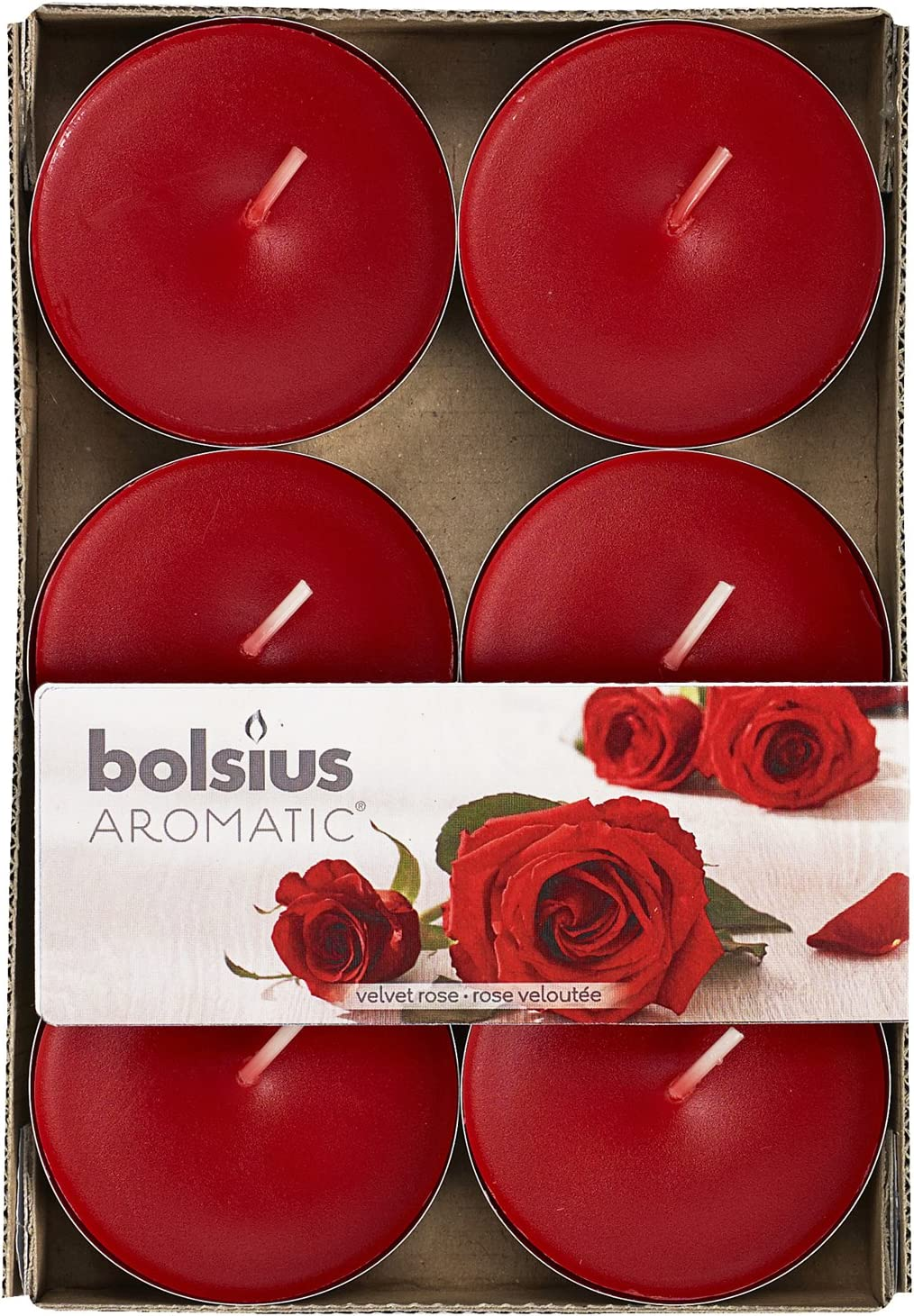 Pack of 6 Aromatic 103626941581 Velvet Rose Scented Tealight Paraffin Wax Red
