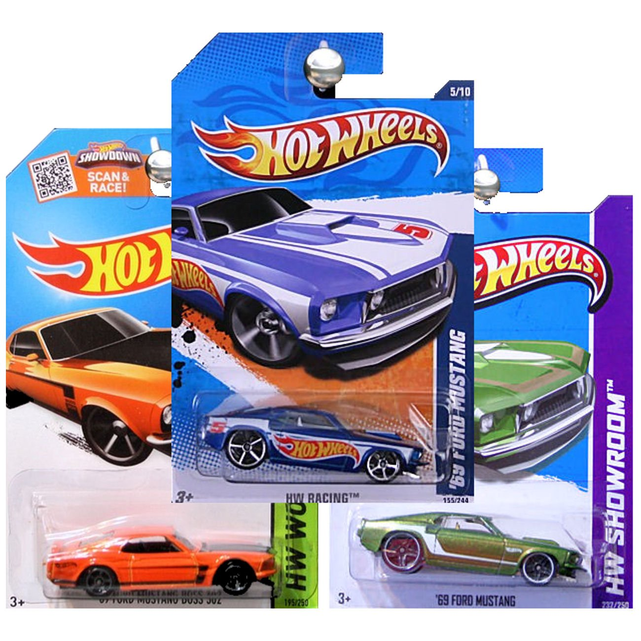 Amazon com hot wheels 1969 ford mustang and boss 302 orange green and blue set of 3 toys games