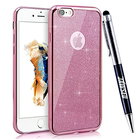 Funda iPhone 6S, Carcasa Caso iPhone 6, JAWSEU Apple iPhone 6/6S 4.7 Carcasa Caso Cover Purpurina llamativa Brillo Lujo Moda Ultra Delgado Silicona ...