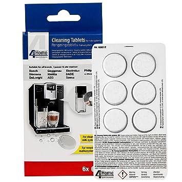 4YourHome 6PK - Pastillas de limpieza para sistema de leche de máquina de café - Apto para todas las marcas grandes: Amazon.es: Hogar