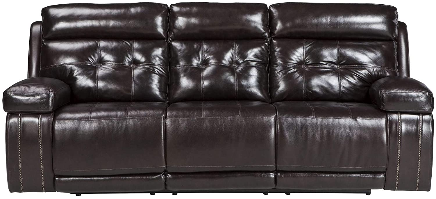 Miraculous Signature Design By Ashley Graford Walnut Power Reclining Sofa With Adjustable Headrest Gmtry Best Dining Table And Chair Ideas Images Gmtryco