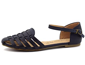 eafd438956b679 Image Unavailable. MaxMuxun Womens Roman Ankle Strap Cage Closed Toe Navy  Flat Sandals Size 8