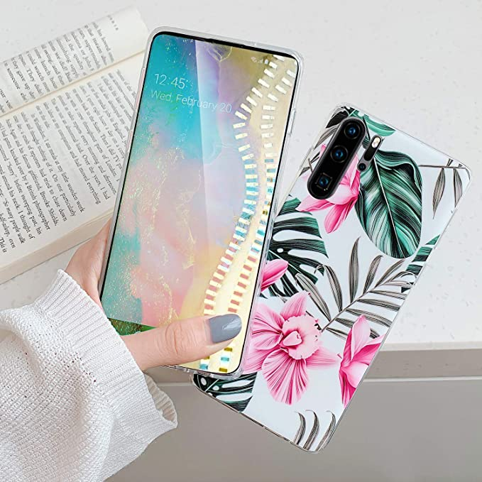 Uposao Compatible with Huawei P30 Pro Case for Women Girls Green Leaves Flower Pattern Ultra Thin Shockproof Silicone Phone Case Flexible Soft TPU Protective Cover Case,Gray Flower