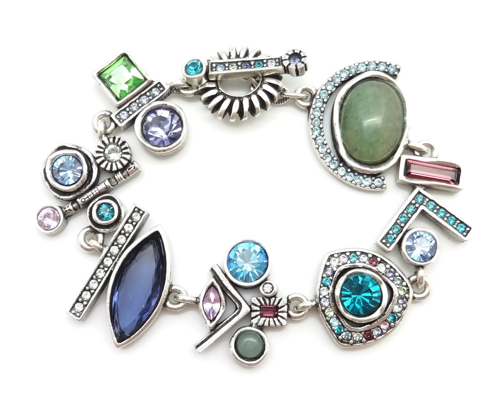 Patricia Locke Waterlily Multi Color All of Me Swarovski Crystal Silver Plated Bracelet